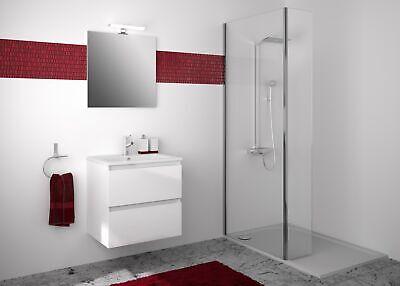 Muebles de Baño Set Armario Base 60 CM Lavabo Espejo sin Tiradores
