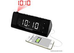 Magnasonic USB Charging Clock Radio for Smartphones w/ Time Projection