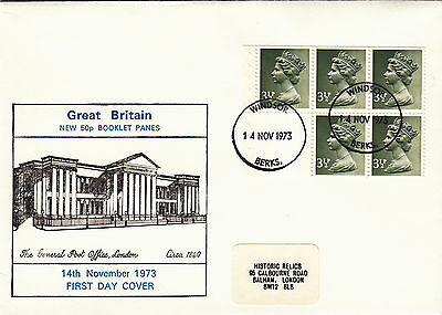 (26943) GB FDC 3.5p ex Booklet Pane - Windsor 14 November 1973 on Lookza