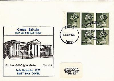 (26943) GB FDC 3.5p ex Booklet Pane - Windsor 14 November 1973 on Lookza