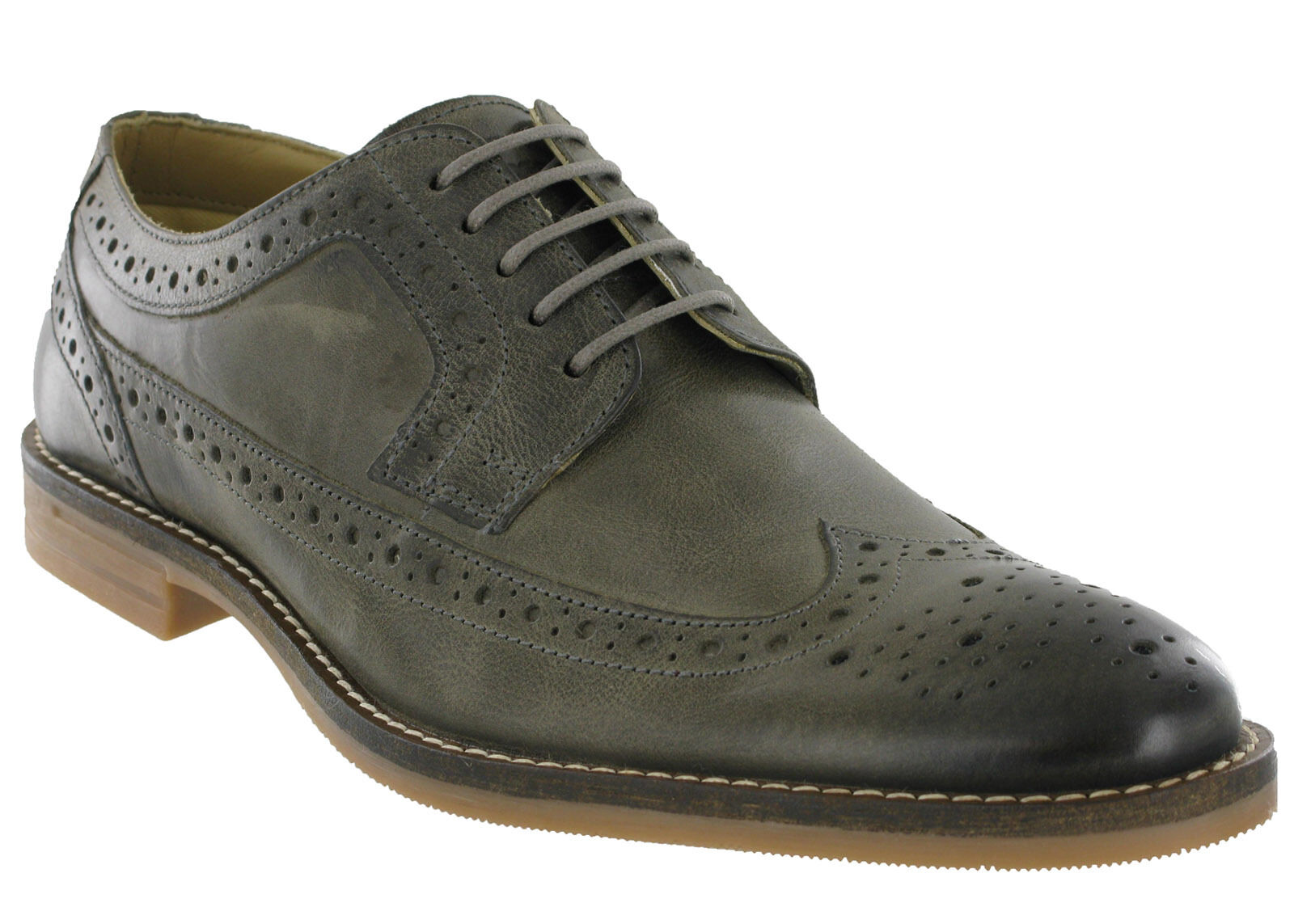 Base London Milton Brogues Leather Formal 5 Eye Lined Lace Up Mens Shoes UK6-12