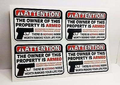 Security Warning Stickers - Owner is Armed Warning Security DECALS / Gun Firearm STICKERS 2
