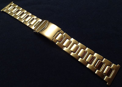 Gold Tone Deployment Buckle (ROWI Made in Germany 24mm Gold Tone Bracelet Watch Band Deployment Buckle $83.95 )