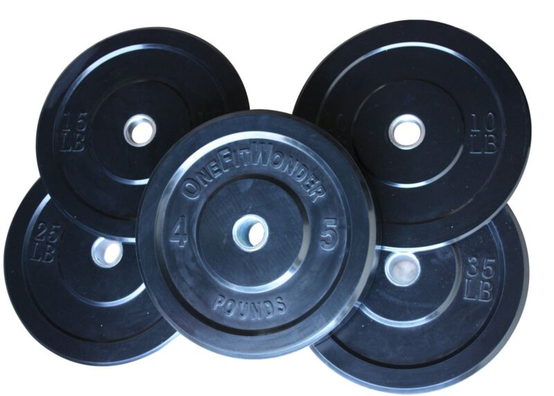 Low Bounce 160lb Black Bumper Plates Olympic Weight Plates Crossfit OneFitWonder