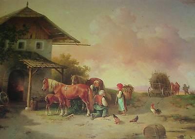 """""""Vor der Schmiede"""" Gemälde Farbdruck Edmund Mahlknecht *1820 Wien Pferde Schmied"""