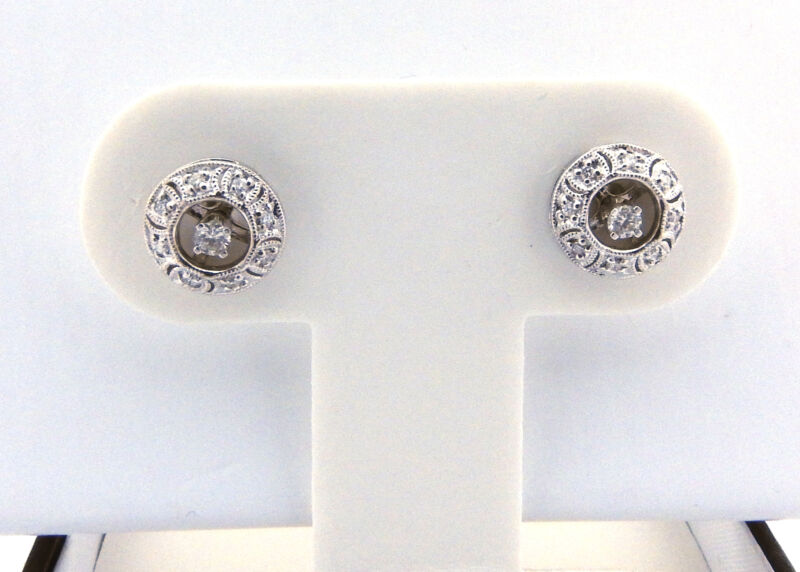 Vintage 14 Karat White Gold and Diamond Earring Jackets #7404