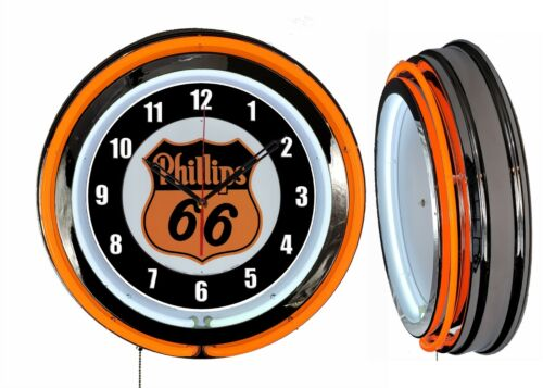 "Phillips 66 Gas Oil 19"" Double Neon Clock Orange Neon Man Cave Garage Shop"