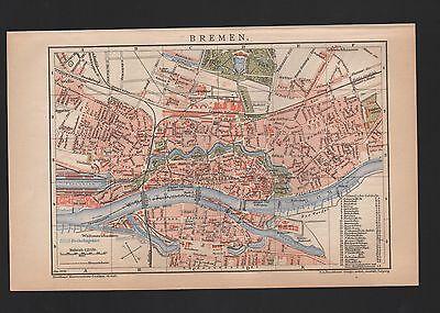 Landkarte city map 1899: Stadtplan: BREMEN. Maßstab: 1 : 22.250