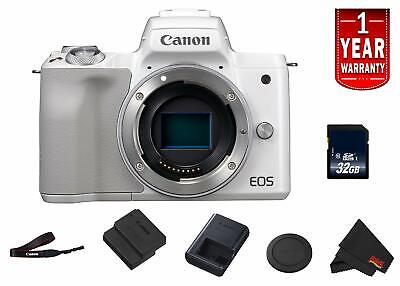 Canon EOS M50 Mirrorless Digital Camera (Intl Model) Model (White) Body Starter