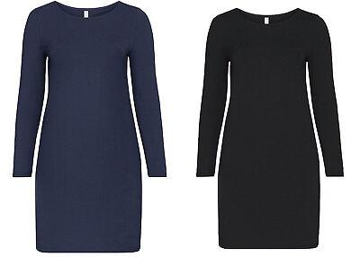 Sheego Damen BASIC Kleid dress blau marine black blue schwarz NEU