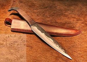 Vollmetall Carbon Mittelalter Messer m. Ledescheide f.Gewandung Wikinger Lager