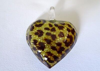 MURANO GLASS PUFFED HEART PENDANT Leopard Design on Gold Tone -
