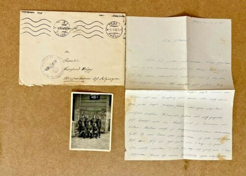 WW2 WAFFEN SS SOLDIERS GROUP  PHOTOGRAPH -PRAUGE UNIT & LETTER, HEYDRICH YEARS.