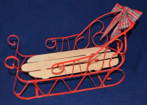 """Red metal and Wood wooden Christmas sleigh sled decoration decor 14.5"""" doll size"""