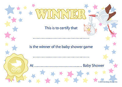 WINNER CERTIFICATES Baby Shower Party Game Prize 1020 pack – Winner Certificates
