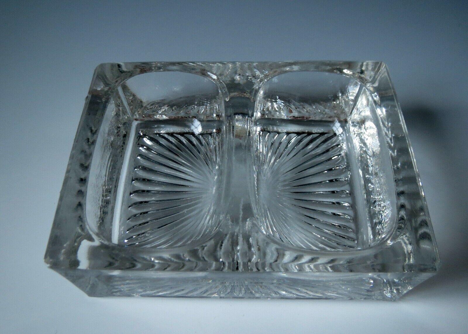 Antique Vintage Pressed Glass Salt Cellar Double Pepper Open