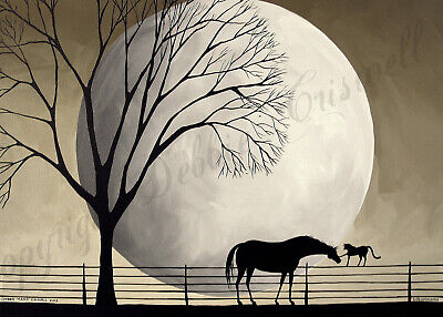 - Horse cat moon silhouette gift folk art Criswell ACEO Giclee print of painting