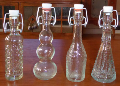 Lot of 4 Vintage Miniature Resealable Bottles from Spain