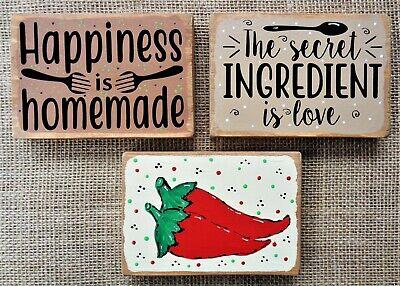 3 PIECE SET Tiered Tray MINI Red Chili Pepper SIGNS Kitchen Decor Shelf Sitters Pepper Kitchen Decor