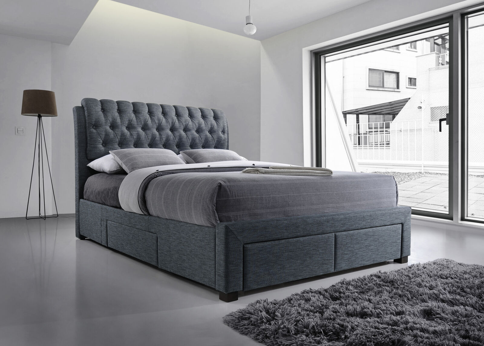 fac01b6fe02a Myles Fabric 4 Drawer Storage Bed Frame Chesterfield Dark Grey Various Sizes