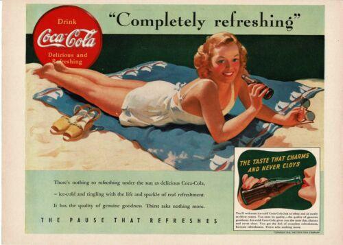 1941 COCA COLA Bathing Beauty Enjoying A Coke VINTAGE PRINT AD