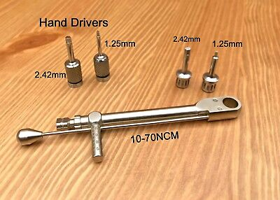Dental Implant Torque Wrench Ratchet 10-70 Ncm Abutment Hex Hand Drivers