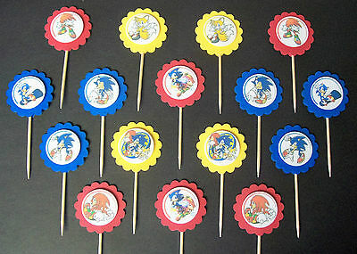 16 MINI- SONIC THE HEDGEHOG Cupcake Toppers / Sandwich Spears party favors   - Sonic The Hedgehog Party Decorations