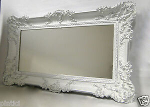 miroir mural ancien baroque rectangulaire 97x57 de couloir blanc argent 103074 ebay. Black Bedroom Furniture Sets. Home Design Ideas