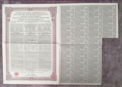 GERMANY bond Young German International Loan 1000 swiss Franc 1930, uncancelled