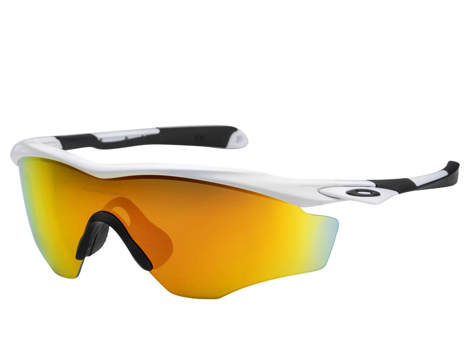 2d22374bcf Oakley Men s Mirrored M2 OO9343-05 White Fire Iridium Wrap Sunglasses