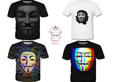 Anonymous Face Mask Funny Halloween Costume T-Shirt Men Women 3D Print - Costume D Halloween Anonymous