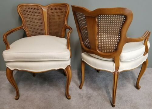 Set of 2 Vtg French Provincial Hollywood Regency Art Nouveau Caned Parlor Chairs