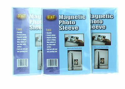 "Lot of 3 Magnetic 5"" x 7"" Photo Sleeves Insert Picture Reusable Holder"