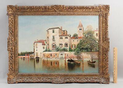 Antique American HENRY PEMBER SMITH Venetian Harbor Canal Scene Oil Painting NR