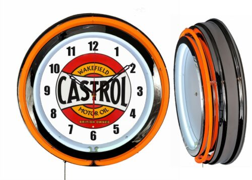 "Castrol Motor Oil Wakefield 19"" Double Neon Clock Orange Neon Man Cave Garage"