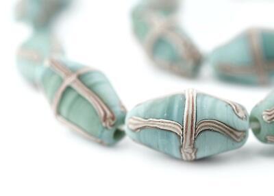 Pistachio Green Java French Cross Beads 14mm Indonesia Blue Bicone Glass](Pistachio Green)
