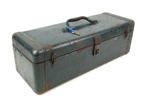 Vintage Green Metal Fishing Tackle Box & Contents Full of Lures Etc