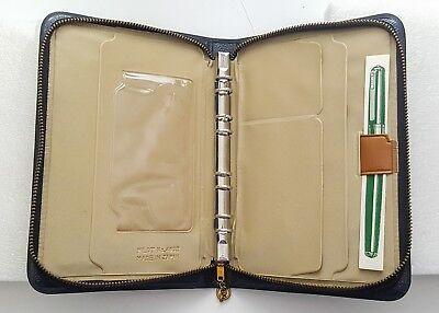 Vintage Pilot Pocket Planner Organizer Ring binder Black Vinyl Pen office