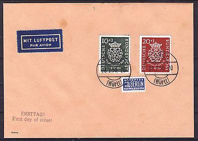 Bund 1950 Bach MiNr 121-122 auf FDC Brief Ersttagsstempel Lorch Fälschung