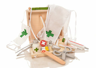 Wooden Doctors Case Kit Set Pretend Play Nurse Role Play Set Dress Up Childrens