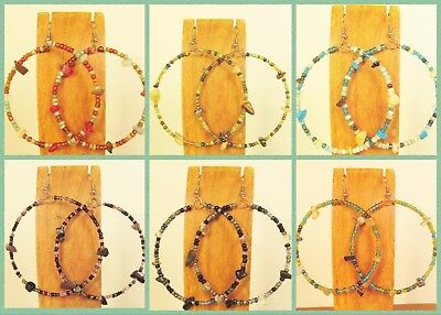 6 Pairs Stone Chip Handmade Beaded BOHO Large Hoop Earrings 6 COLORS Party Mix