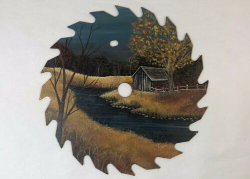 Hand Oil Painted Circular Saw Blade Rustic Nature Scene Barn Shed Stream 7.25""