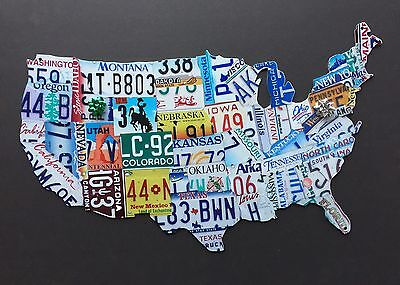 USA License Plate Map Heavy 14 Gage Metal Sign Nice Gift No Reserve Made In USA