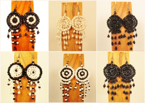 Wholesale Lot 6 PCS Handmade Beaded Dreamcatcher Earrings 6 BLACK WHITE COLORS