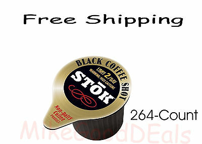 Stok Caffeinated Black Coffee Shots  264 Count  New   Free Usa Shipping