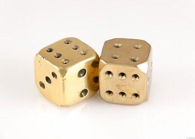 "Pair of Vintage Large Heavy Solid Brass 1"" Inch Dice Golden Gambling Gaming Die"