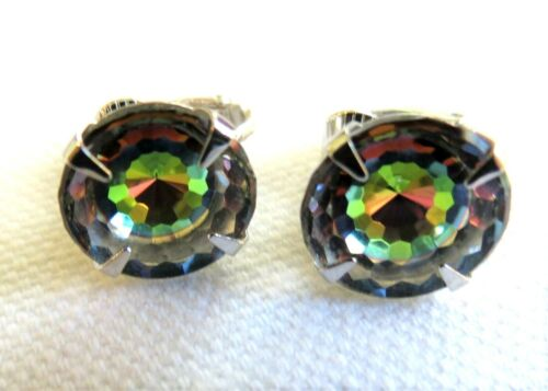 Vintage Sarah Coventry Signed Watermelon Crystal Clip Earrings Gorgeous
