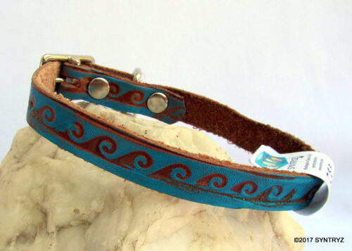 Ocean Wave Pattern Bright Turquoise Blue Leather Dog Collar Handmade Solid Genui