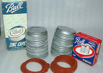 1 Vintage Ball Regular Standard Mouth Zinc Mason Jar Lid W/1 Sealing Rubber NOS for sale  Shipping to Canada