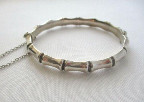 Vintage Birmingham Sterling Silver Bamboo Design Bangle Bracelet